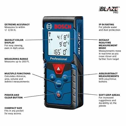 """מד לייזר מקצועי של BOSCH! דגם Bosch Blaze Pro GLM165-40 עם קופון 25$! עד הבית רק ב$60.22 / 203 ש""""ח! (בזאפ 584 – 386 ₪!)"""