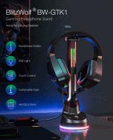 BlitzWolf BW-GTK1 מעמד לאוזניות גיימינג עם תאורת RGB ומפצל USB רק ב₪87 כולל משלוח!