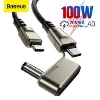 מבריק! כבל BASUES USB-C 100W – עם מתאם מובנה ללפטופים! להטעין את הסמארטפון, הלפטופ, הטאבלט, האוזניות….הכל עם כבל אחד (גם אם המחשב שלכם ישן!)