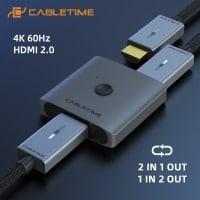 מפצל HDMI תומך 4K 60Hz רק ב6.99$! + באנדל כבלים!