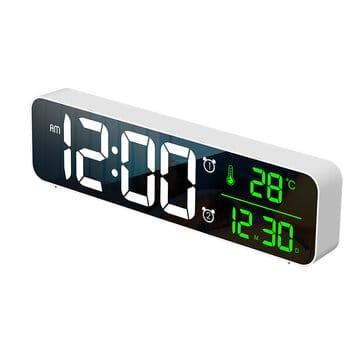 שעון דיגיטלי ומעורר עם מוזיקה ותצוגת טמפרטורה