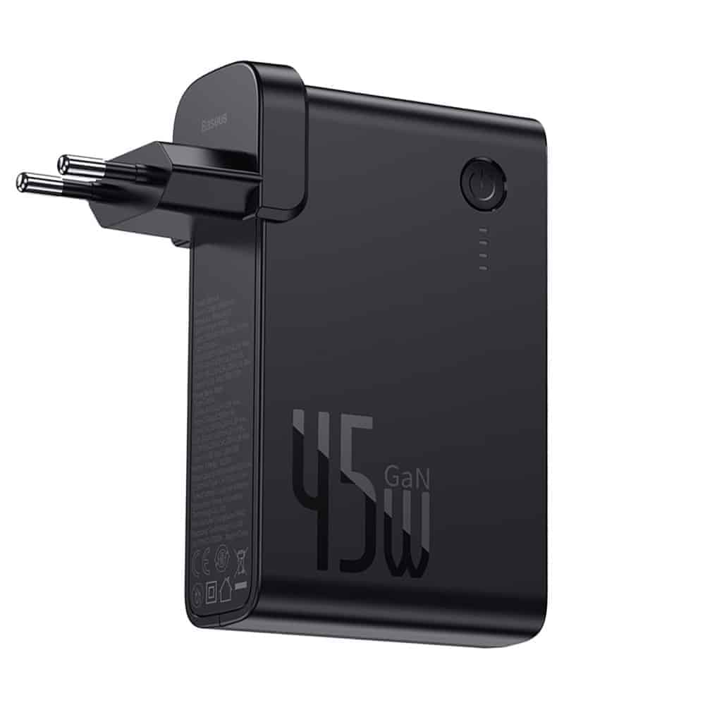 מטען קיר מהיר Baseus GaN 45W PD משולב סוללה 10000mAh! רק ב$32.11!