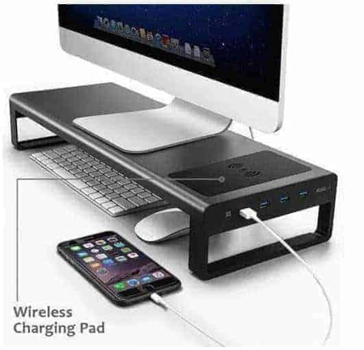 פנו מקום על השולחן עם מעמד למסך המחשב עם חיבורי USB וטעינה אלחוטית! $56.87-59.75