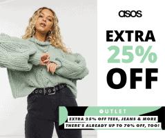 כפל הנחות בASOS! אקסטרה 25% הנחה על אלפי פריטים לגברים ונשים! חולצות, ג'ינסים, סוודרים, מעילים ועוד!