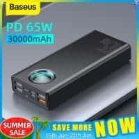 Baseus 65W Power Bank 30000mAh PD – מטען נייד / סוללת גיבוי ענקית! עם טעינה מהירה (כולל הטענת מחשבים וטאבלטים!) רק ב$38.61