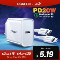 אייפוניסטים? זה בשבילכם! המטען UGREEN PD 20W תואם IPHONE 12 החדש+ QC4.0 רק ב$4.19! רק $8.96 עם כבל!