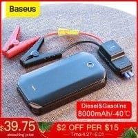 """בוסטר/ג'אמפ סטרטר/ סוללת התנעה לרכב הכי נמכרת! 8000mAH מבית Baseus רק ב$36.24 /  121 ש""""ח!"""
