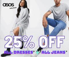 קופונים חדשים! 25% הנחה על שמלות וג'ינסים בASOS!
