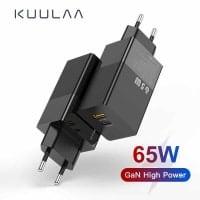 KUULAA GaN 65W – מטען מהיר חזק וקומפקטי עם 2 פורטים כולל טעינה מהירה USB-C PD וQC4.0 והטענת מחשבים ניידים רק ב$11.44! רק $12.28 עם כבל 100W!